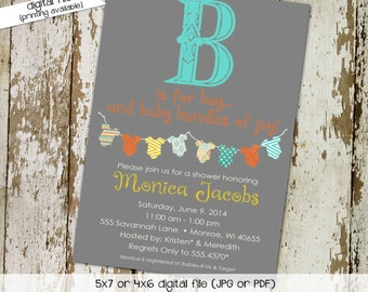 baby boy shower invitation B is for boy bodysuit sprinkle diaper couples stock the library gender reveal (item130) shabby chic invitations