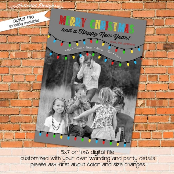 Holiday or Christmas card, Merry Christmas Card Happy New year Christmas lights printable, digital file (item 845)
