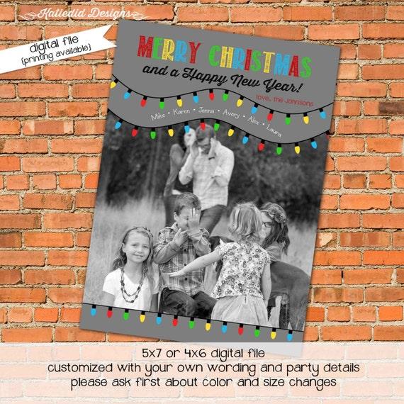 Holiday or Christmas card, Merry Christmas Card Happy New year Christmas lights printable, digital file (item 845)