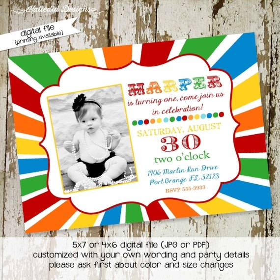 rainbow birthday invitation sunburst photo sip and see ultrasound baby shower gender reveal neutral couples coed evite diaper (item 231)