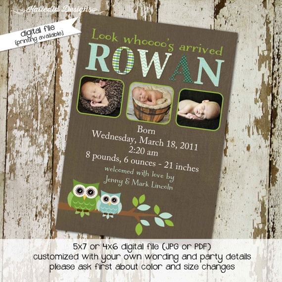 owl baby shower invitation owl first birthday birth announcement photo sip and see sprinkle ultrasound (item 425) shabby chic invitations