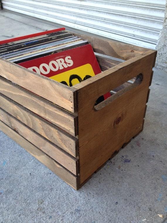 Handmade Wood Record Vinyl Lp Crate Original