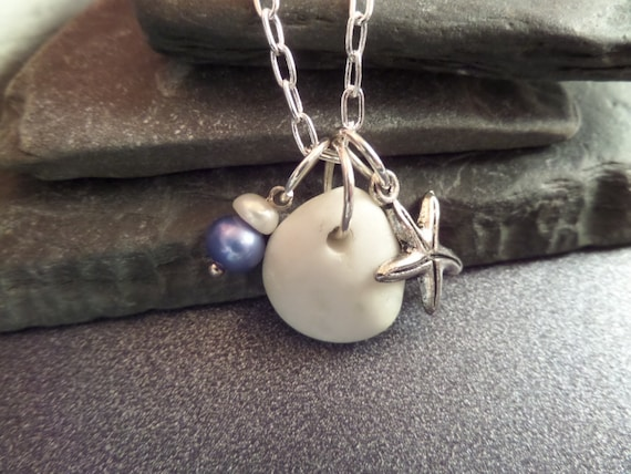 Protection Necklace Scottish Iona Marble Starfish Blue and White Pearls Healing Jewelry Scottish Wedding Gift from Scotland