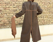 Almost Vintage  Felt Coat - Very Nice Women Winter Warm Long Dress Over Coat - Size can fit for M