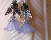 Angel Earrings Perfect African American Black Hematite Face 5-Petal Flower Lt Blue Dress Silver Metal Wings Hanging Dangle Gift