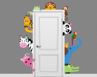 Jungle Safari Elephant Monkey Giraffe Animal Decal Peeking Door Hugger Nursery Wall Decal