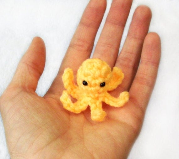Tiny Squidlet Crochet Plushie - 2 inch Mini Squid Stuffed Toy or Keychain - Choose Your Colors