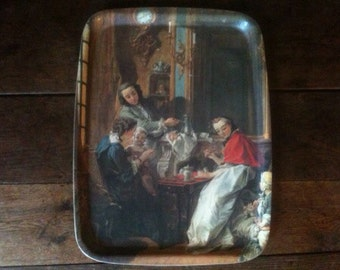Vintage French old master plastic tray The Afternoon Meal 1739 François Boucher circa 1960's / English Shop
