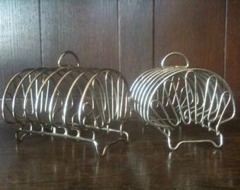 Vintage English metal toast racks rack holder set of 2 circa 1950's / English Shop