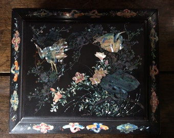 Antique Chinese Mother of Pearl wood black inlaid wedding gift jewellery jewelry storage box circa 1910's / English Shop