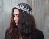 Silver Leaf Crown - Silver Leaf Headband, Frozen, Woodland, Fairy, Greek, Winter Crown, Winter Wedding, Tiara