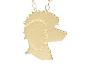 Poodle necklace, Poodle charm, Poodle jewelry, Poodle silhouette - Solid 14k Yellow Gold dog necklace, pet memorial gift.