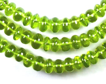 """SALE 8"""" 6mm - 7mm Peridot smooth beads roundelles from Afghanistan AAA Grade PER006"""