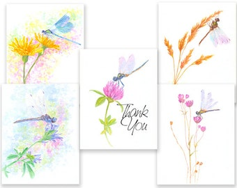 Colorful Dragonfly note cards. 4 blank cards plus 1 Thank You card w/envelopes