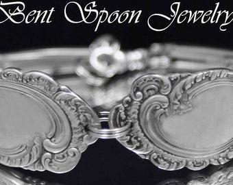 Silverware Jewelry, Spoon Bracelet, Antique Aldine 1895 Ornate Spoon Bracelet..Silverware Jewelry