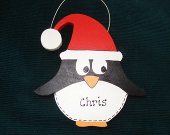 Personalied Wood Christmas Ornmanet - Pennie the Penguin