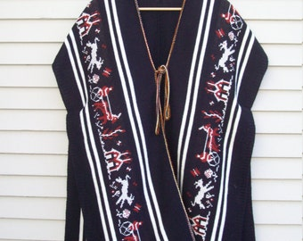 70s Folk Art Knit Sweater Poncho