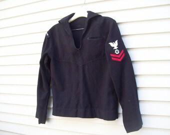Vintage Wool US Navy Sailor Sweater / USS Rockbridge / Sailor Shirt / Sailor Costume / WWII / Nautical Top