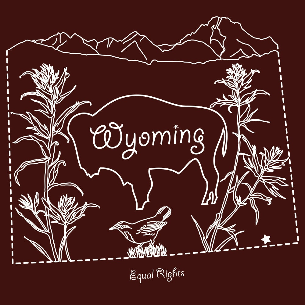 Wyoming hand embroidery pattern iron on transfer state