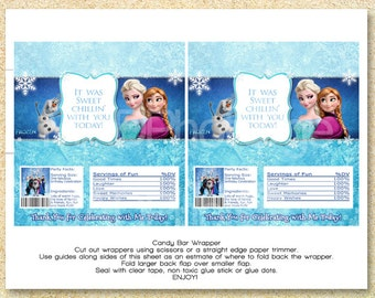 Disney Frozen Printable Candy Bar Wrappers, Frozen Candy Wrapper, Frozen Party Favor, Birthday Printable matches Invitation Elsa Anna Olaf