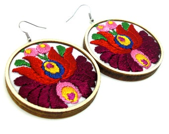 Emroidered earrings with hungarian motif Embroidered jewelry Wooden earrings Wooden jewelry Fabric jewelry Fabric earrings Gift for her