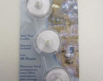 Darice Submersible Tea Light - White - 40 Hour - Waterproof - 3 pieces