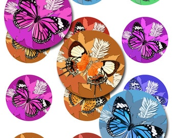Butterfly Winter Instant Download Round 1,2,.5 Inch 3 Pages of Digital Images Collage Sheet JPEG (13-37)