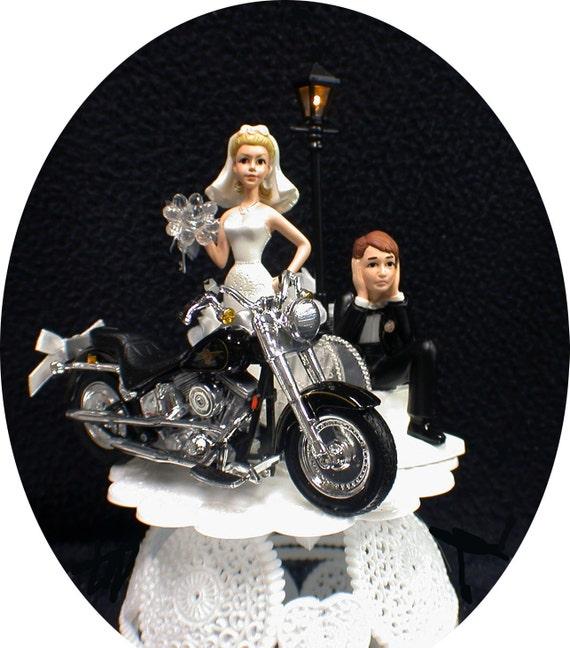 Wedding Cake Topper W Die Cast Harley Davidson Motorcycle