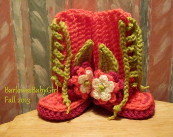 Buggs - Crochet Coral, Hot Pink and Grass Green  Lace Up Booties w/ Detachable Three Tier Flower Accent