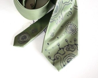 Necktie green, extravagant neck tie hand painted, wedding neckties, gift for man, gift for him - Hand painted accessories OOAK  for order