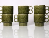 RESERVED for Benisa Ras Vintage Set of 6 Green Coffee Cups Made In Japan