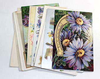 12 Early 1900s Greeting Postcard Assortment - Shades of Purple - Antique Used Postcards
