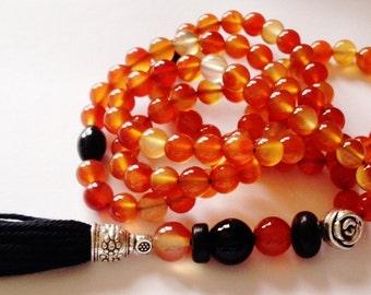 Turkish Islamic 99 Prayer Beads, Tesbih, Tasbih, Misbaha, Sufi, Worry Beads, Carnelian, Akik ,Aqeeq, Onyx