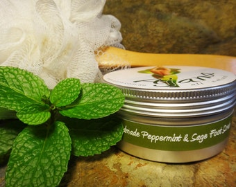 Peppermint & Sage Fresh Handmade Salt Foot Scrub - 200gm Tin -  Flat Rate Shipping Now Available!