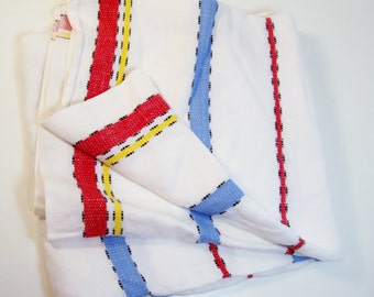 Vintage Linen Tablecloth Red White And Blue Stripes 48 x 44 Inches