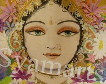 Krishna s queen  Goddess of fortune devotional art mixed media Syamarts home altar supplies bhakti Rukmini
