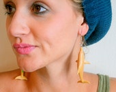 DOLPHIN Earrings..dangly. novelty. sea creature. retro. science. kitsch jewelry. plastic toy. aquatic. ocean. deep sea. golden yellow. green