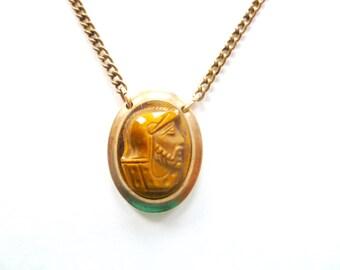 Vintage 12K Gold Filled Carved Tiger's Eye Spartan Head Cabochon Tie Bar Clip