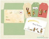 PRINTABLE DIY Christmas card, envelope and tags - PDF, digital file, instant download
