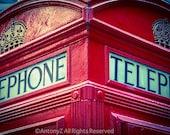 Red Telephone Box  London England UK Great Britain 8x10 Fine Art Print