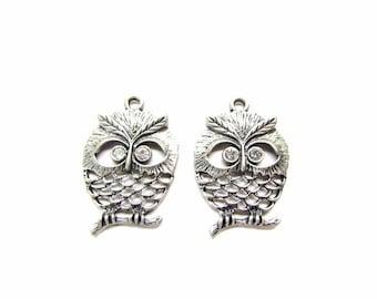 2 Wise Owl Pendant / Rhinestone Owl