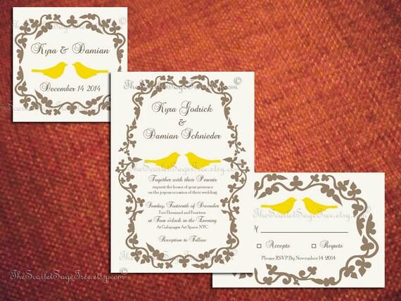 Diy PRINTABLE RUSTIC Wedding Invitation Set LOVEBIRD Design Pdf Engagement Anniversary Party Shower Save The Date Template Romantic Custom