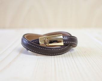 Stitched Double Leather Wrap Bracelet(Dark Brown)