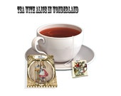 Alice in Wonderland tea party tea bags paper craft supply kit  accessories Bag and tag DIY