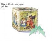 Printable Alice in wonderland gift box instant download antique design