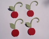6 Large Cherry Die Cuts with Pop Up Leaf 3D Embellishment Scrapbooking Cherries Paper Crafts