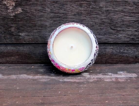 Candle - Pink Carnation Scented - Soy Candle - Pink Mosaic Jar - Vegan - Natural
