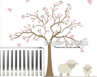 Vinyl Wall Decals- Nursery Cherry Blossom Tree with Lamb Birds Flowers-e95