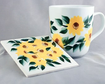 Hand Painted Yellow Floral Coffee Mug and Coaster