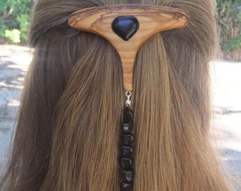 Fashion Week  Hair Barrette, hand made from olive wood,  with Onyx and obsidian gemstones hearts